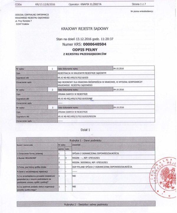 Виписка польської компанії-партнера